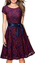 Miusol Women's Vintage Floral Lace Cocktail Evening Party Dress