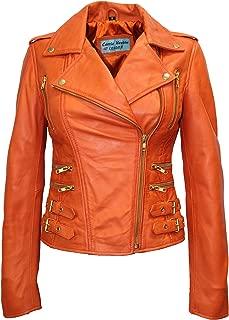 Smart Range Mystique' Ladies Orange Biker Style Motorcycle Designer Nappa Leather Jacket