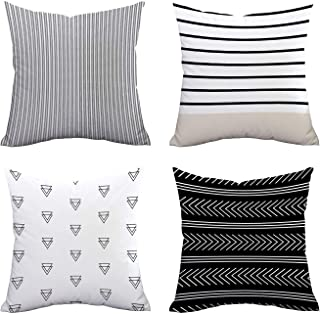 BLEUM CADE Set of 4 Pillow Covers Stripe Pattern Throw Pillow Case Daily Decorations Sofa Throw Pillow Case Cushion Covers Zippered Pillowcase 20