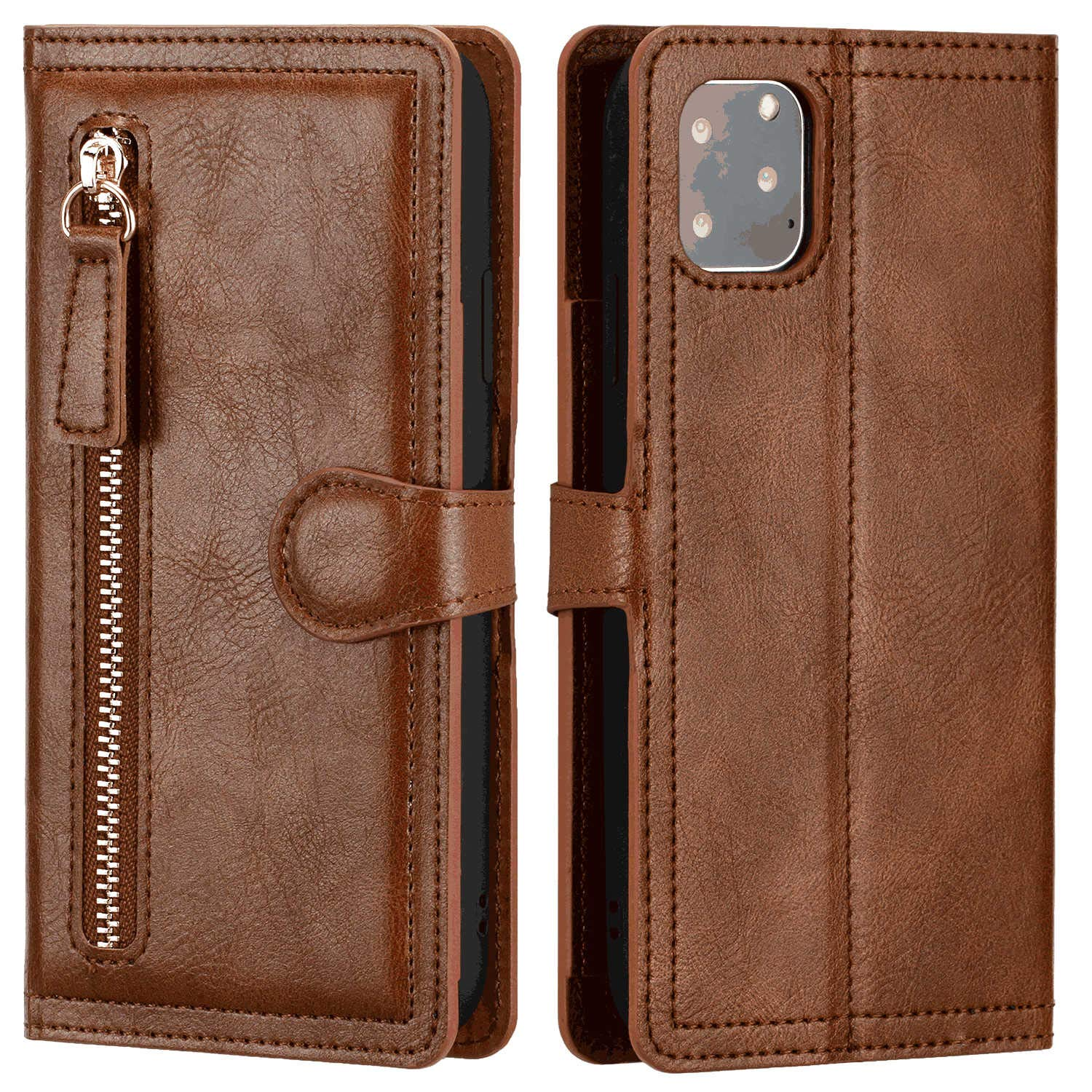 BeyeX iPhone Xs Flip Case Leather Cover Extra-Shockproof Business Card Holders Kickstand Mobile Phone case Magnetic Closure Five Card Slot Money Slot Zipper Retro Gray