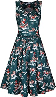 Women's Christmas Sleeveless Print Pleated Skater Party Cocktail Dresses with Pockets