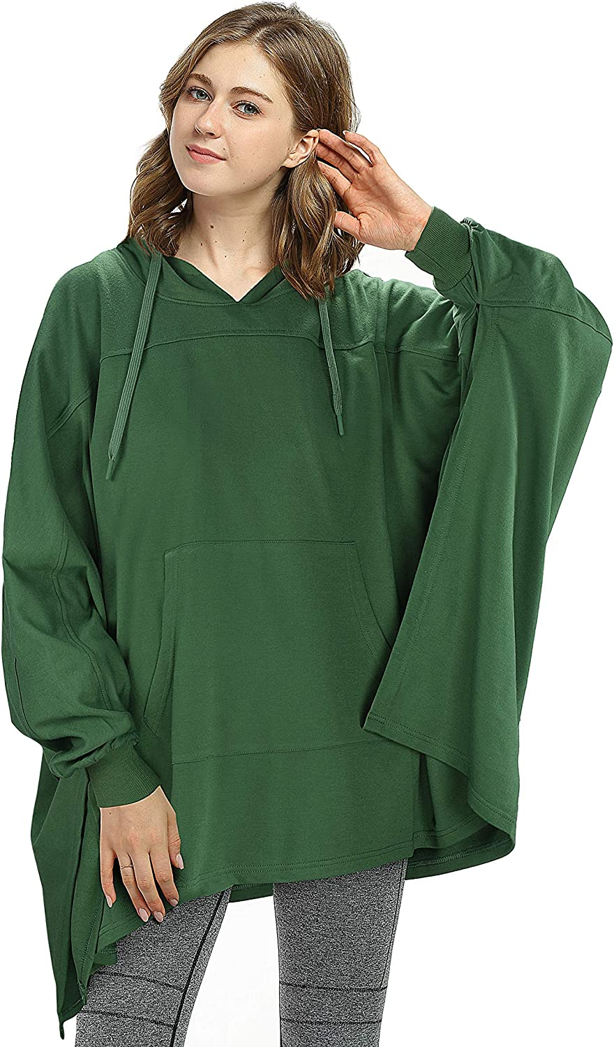 Oversized Hoodie Sweatshirt Poncho, Casual Hoodie Cape, Batwing Coat Pullover Blanket   Light Weight, Comfortable, Roomy   for Adults Women Men