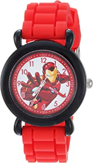 MARVEL Boys Avenger Analog-Quartz Watch with Silicone Strap, red, 16 (Model: WMA000236