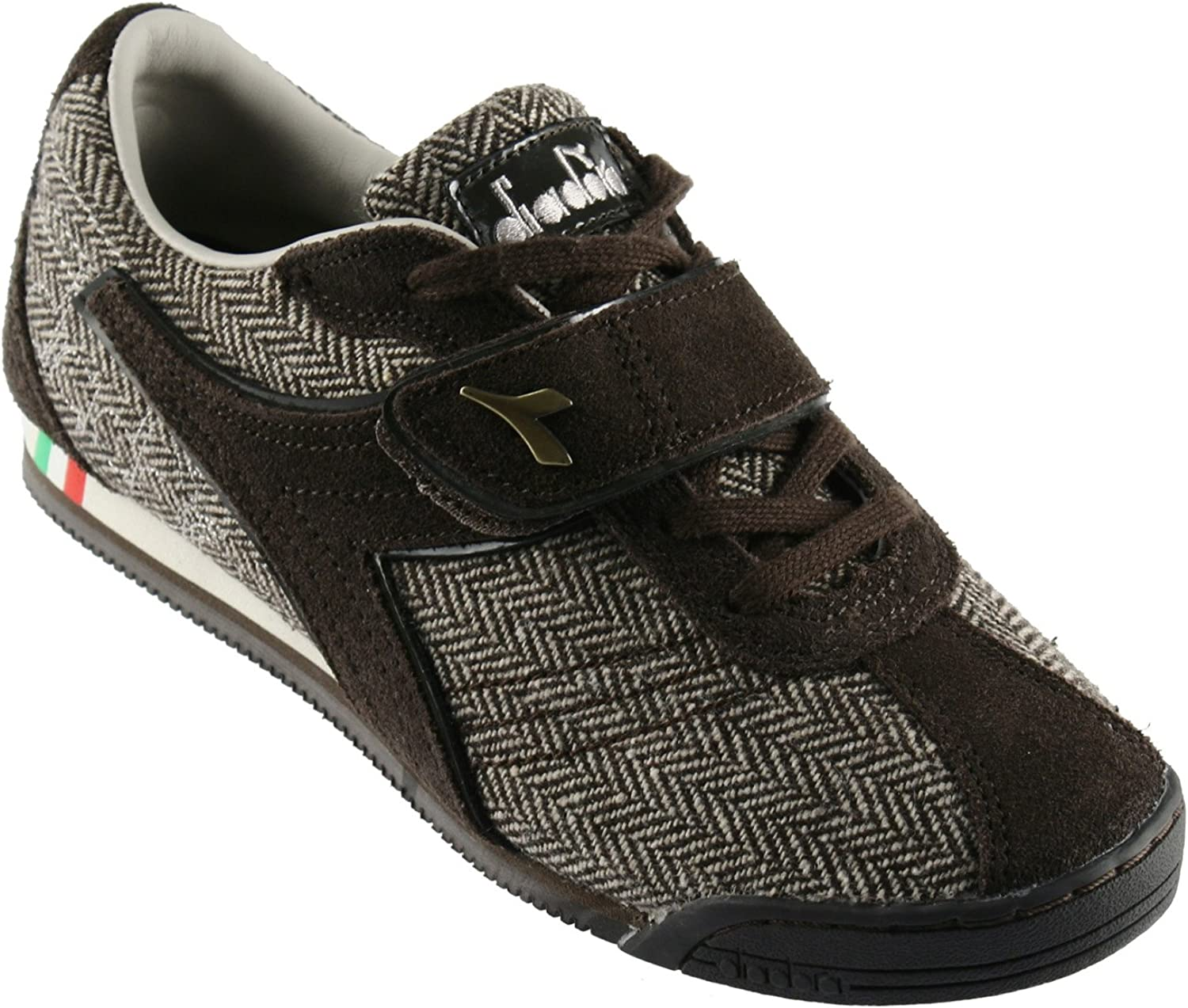 Diadora Donna Bling Ladies Fashion Sneakers, Tweed Upper and Leather