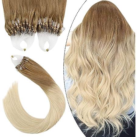 Ugeat 50gr Micro Ring Beads Human Hair Extensions Micro Loop Pre Bonded Hair 60#