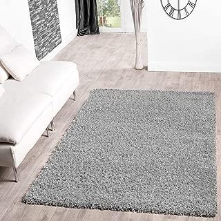 T&T Design Alfombra Shaggy De Pelo Largo para Salón A Precio Inmejorable, Größe:120x170 cm, Farbe:Grey