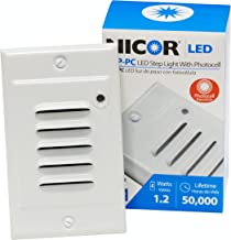 NICOR Lighting LED Step Light with Photocell Sensor and Horizontal and Vertical Faceplate, White (STP-10-120-WH-PC)