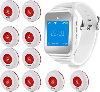 Wireless Caregiver Pager Vibration Softly Sound Alert System Nurse Call Help Buttons for Elderly Patient Disable at Home (1 Watch +10 Buttons)