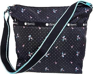LeSportsac Flamingo Beach Small Cleo Crossbody Handbag, Style 7562/Color F181, Black Bag/White Polka Dots, 3 Tone Strap