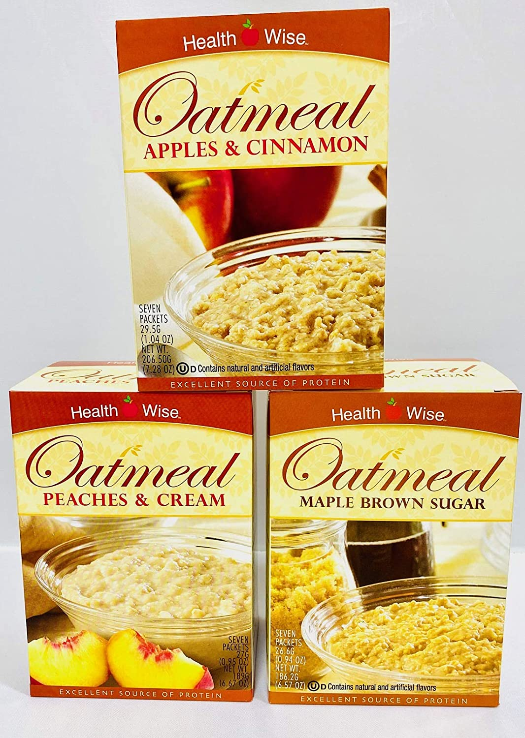 Healthwise - Apple and Cinnamon , Peaches and Cream , Maple Brown Sugar - High Protein Oatmeal Diet Starter Pack - Low in Calories - Low in Carbohydrates - Low in Sugar - 3 Boxes