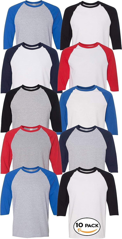 Gildan 5700B Multipack Bundle Cotton Raglan Youth Bulk T-Shirts - Make Your Assorted Color Set for Kids