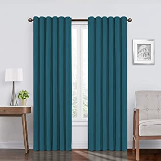"""ECLIPSE Bradley Thermal Insulated Single Panel Rod Pocket Darkening Curtains for Living Room, 50"""" x 108"""", Peacock"""