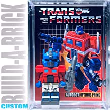Build-A-Brick Transformers Optimus Prime Custom Mini Action Figure w/ Display Case & UV Custom Collectible Poster Movie Trading Card Gift for Boys Girls & Adult Vintage Toy Robot Series Collectors