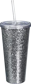 Blush 5394 Glam Double Walled Glitter Tumbler, Silver