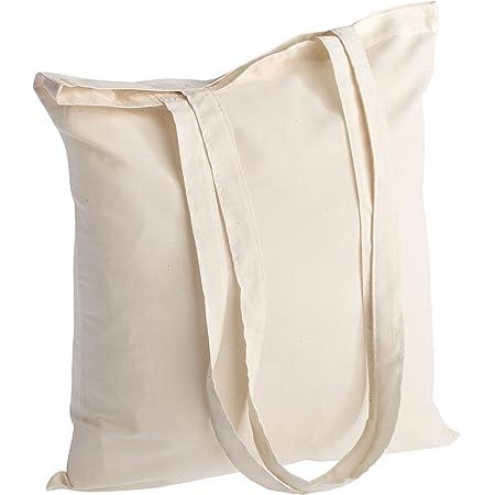 Qualität Baumwolltasche Jutebeutel 145 g/m2 Größe 38x42 cm langen Henkeln 70 cm Natur 100% Baumwolle. (25 Stück, Natur)