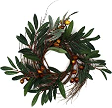 CVHOMEDECO. Rustic Country Artificial Olive Branch and Twig Wreath, Year Round Full Green Wreath for Indoor or Outdoor Dis...