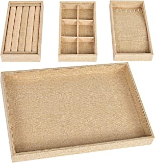 Viefin Sackcloth Stackable Jewelry Tray, Earring Drawer Insert Display Show Case, Dresser Organizer for Ring Stud, Necklace Holder Storage Box Chest,Yellow 4 in 1(without lid)