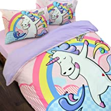 Essina Microfiber Double Bed Quilt Cover Duvet Cover Doona Cover Set 3pc Bambino Collection, Soft and Lightweight, Unicorn...