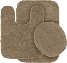 3pc Bath Rug Set for Bathroom Non Slip Bath Mat, Contour Mat & Toilet Lid Cover Solid Beige New