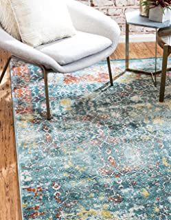 A2Z Rug Blue 5' 5 Feet Round St. Tropez Collection Traditional and Modern Area Rugs and Carpet