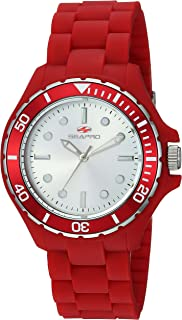 Women's Spring Stainless Steel Quartz Watch with Silicone Strap, red, 18 (Model: SP3214)