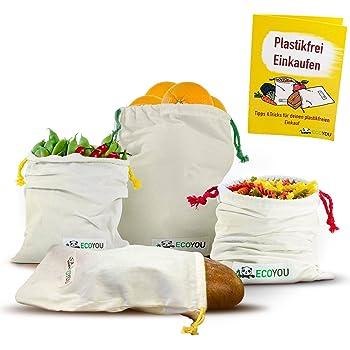 EcoYou® Obst & Gemüsebeutel aus Bio-Baumwolle I Wiederverwendbare Brotbeutel Aufbewahrung 4er Set INKL. plastikfrei Einkaufen Guide & Gewichtsangabe I Einkaufsnetze Gemüsenetz