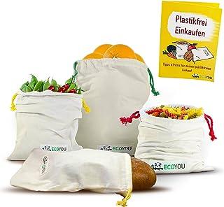 EcoYou EcoYou Obst & Gemüsebeutel aus Bio-Baumwolle I Wiederverwendbare Brotbeutel Aufbewahrung 4er Set INKL. plastikfrei Einkaufen Guide & Gewichtsangabe I Einkaufsnetze Gemüsenetz