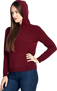 Women's 100% Cashmere Soft Long Sleeve Hoodie Sweater