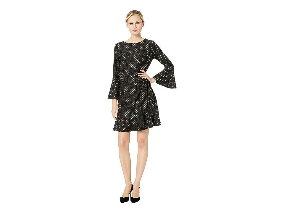 eci Metallic Dot Knit Faux Wrap Dress (Black/Gold) Women