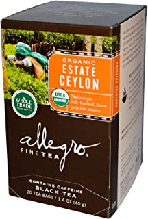 Allegro Fine Tea, Organic, Black Tea, Estate Ceylon, 20 Tea Bags, 1.4 oz