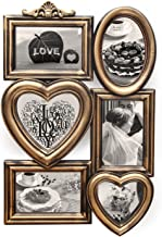 Adeco PF0615-1 6-Opening Plastic Golden Photo Frame, Antique Gold