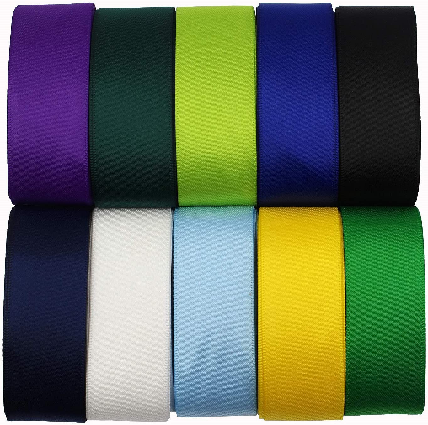 1 Inch Wide Solid Color Double Sided Polyester Satin Ribbon 20 Colors X 2 Yard Each Total 40 Yds Per Package : Arts, Crafts & Sewing
