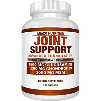 Glucosamine Chondroitin Turmeric MSM Boswellia - Joint Support Supplement for Relief 180 Tablets - Arazo Nutrition