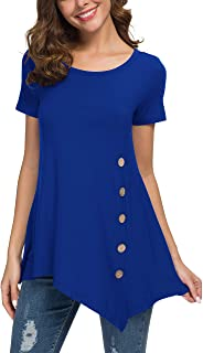 VIISHOW Women's Long Sleeve Scoop Neck Button Side Tunic Tops Blouse