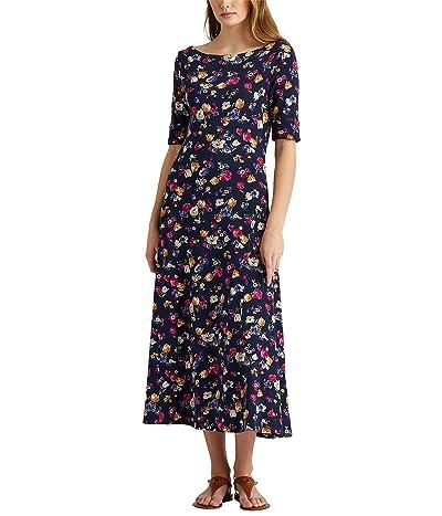 LAUREN Ralph Lauren Floral Stretch Cotton Midi Dress