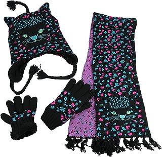 Girls Cute Kitty Warm Sherpa Lined Knitted 3PC Winter Accessory Set