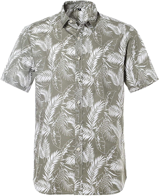Lu's Chic Men's Hawaii Shirt Short Sleeve Button Down Beachwear Cotton Funny Tropical Vintage