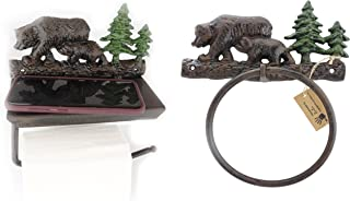 Lulu Decor, Set of 100% Cast Iron Bear Toilet Tissue paper & Towel Holder, designed with flat surface that can hold belongings like cell phone, wallets, keys etc (Set)
