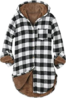 Women Buffalo Plaid Hoodie Sherpa Lined Flannel Long Line Shirt Jacket