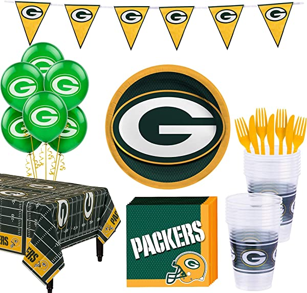 Party City Green Bay Packers Super Party Supplies For 18 Guests Include Plates Napkins Table Cover And Balloons