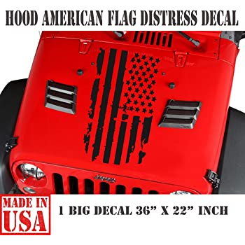 Cartat2s Distressed American Flag Vinyl Decal 5 X 3 inch Matte Black Old Glory Grunge Look Patriotic Car Truck Hood Wall Window Toolbox Bumper Sticker