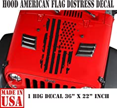USAFL Distressed American Flag Truck Hood Vinyl Decal (Matte Black)