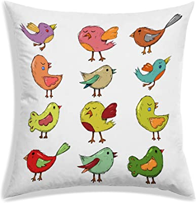 RADANYA Birds Printed Polyester Cushion Cover for Living Room-12x12 Inches-White
