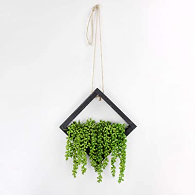 AuldHome Artificial Floral Pick Hanging Vases (3-Pack); Boho Style Wood Faux Plant Greenery Hangers Wall Decor