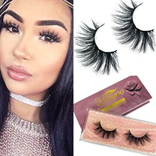 Googoo Mink Lashes 18mm Natural False Eyelashes 3D Layered Effect Siberian Mink Fur False Eyelashes Hand Made Strips Eyelashes Reusable Make Up Real Fake Eyelashes 1 Pair E11 Type Christmas Gift