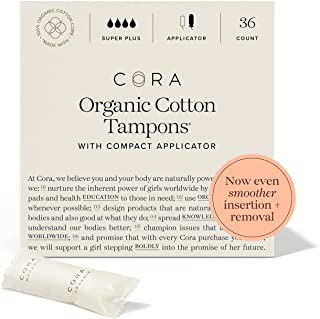 Cora Organic Tampons   Super Plus Absorbency   100% Cotton Core, Unscented with BPA-Free Applicator   Leak Protection, Eas...