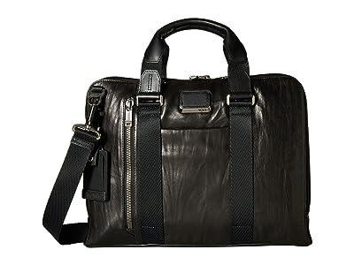 Tumi Alpha Bravo Aviano Leather Slim Brief (Black Leather) Briefcase Bags