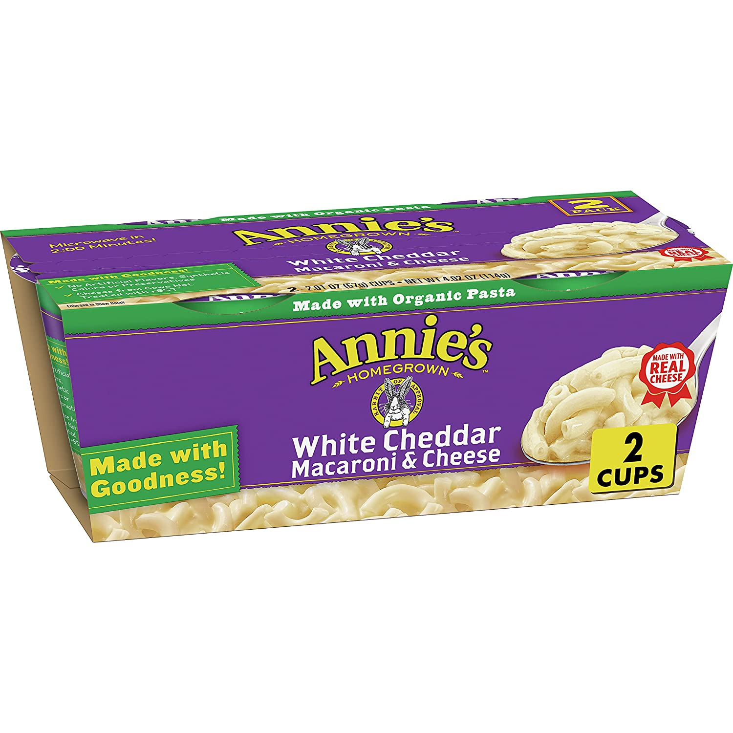Annie's White Cheddar Macaroni & Cheese, Microwavable Mac & Cheese, 4.02 oz, 2 ct (Pack of 6)