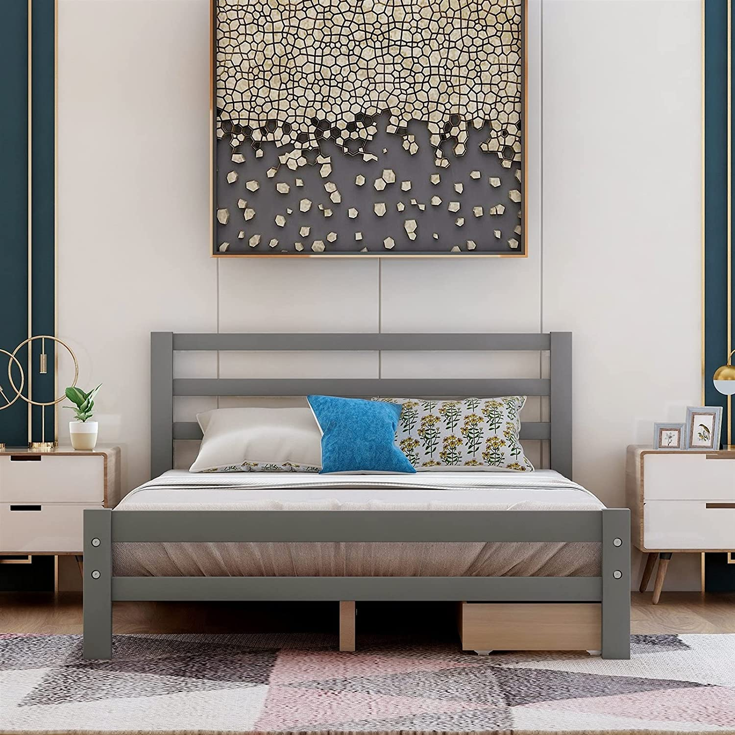 HAO KEAI Platform Jacksonville Mall Bed Frame Two Complete Free Shipping Drawe Wood with