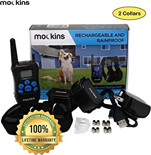 Mockins Set of 2 Collars | 100% Rainproof and Rechargeable Electronic Remote Training Dog Collar | Shock Collar for Dogs with 990 ft Range E Collar, Beep and Vibration for Big, Medium and Small Dog